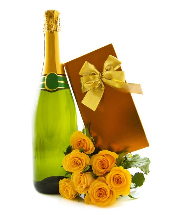 Rose Gialle E Spumante Wine Gifts Inviare E Consegnare Rose