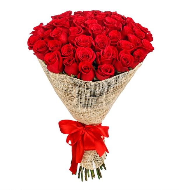 mazzo di 50 rose rosse