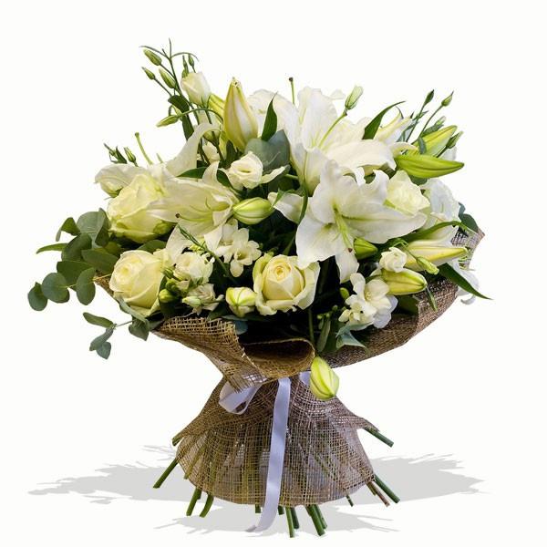 Mazzo Di Fiori X Nascita.Rose Gigli E Misto Bianco Consegna Bouquets A Domicilio