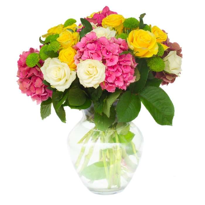bouquet con rose ed ortensia