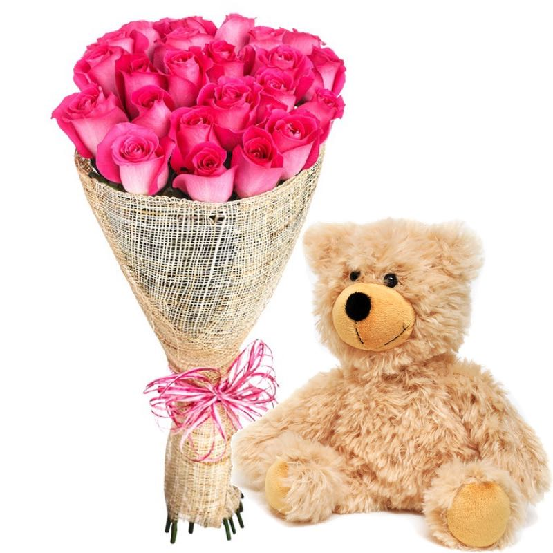bouquet rose rosa e peluche